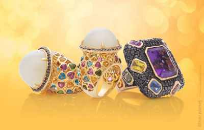 3 massive rings with pearls, gemstones and black diamonds