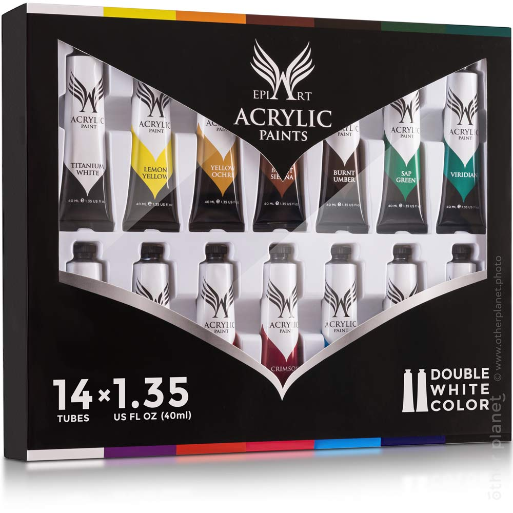 Acrylic paint package packshot on white background