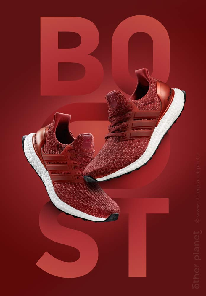 Adidas Ultra Boost red running shows advertising photo - vertical variation