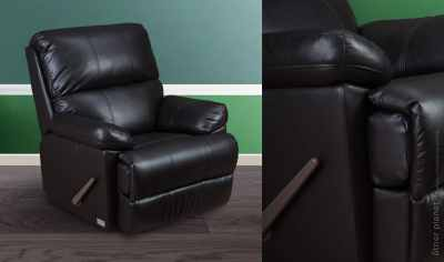 Adjustable black leather armchair