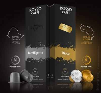 Advertising photo of Rosso Caffe capsules with info-graphic