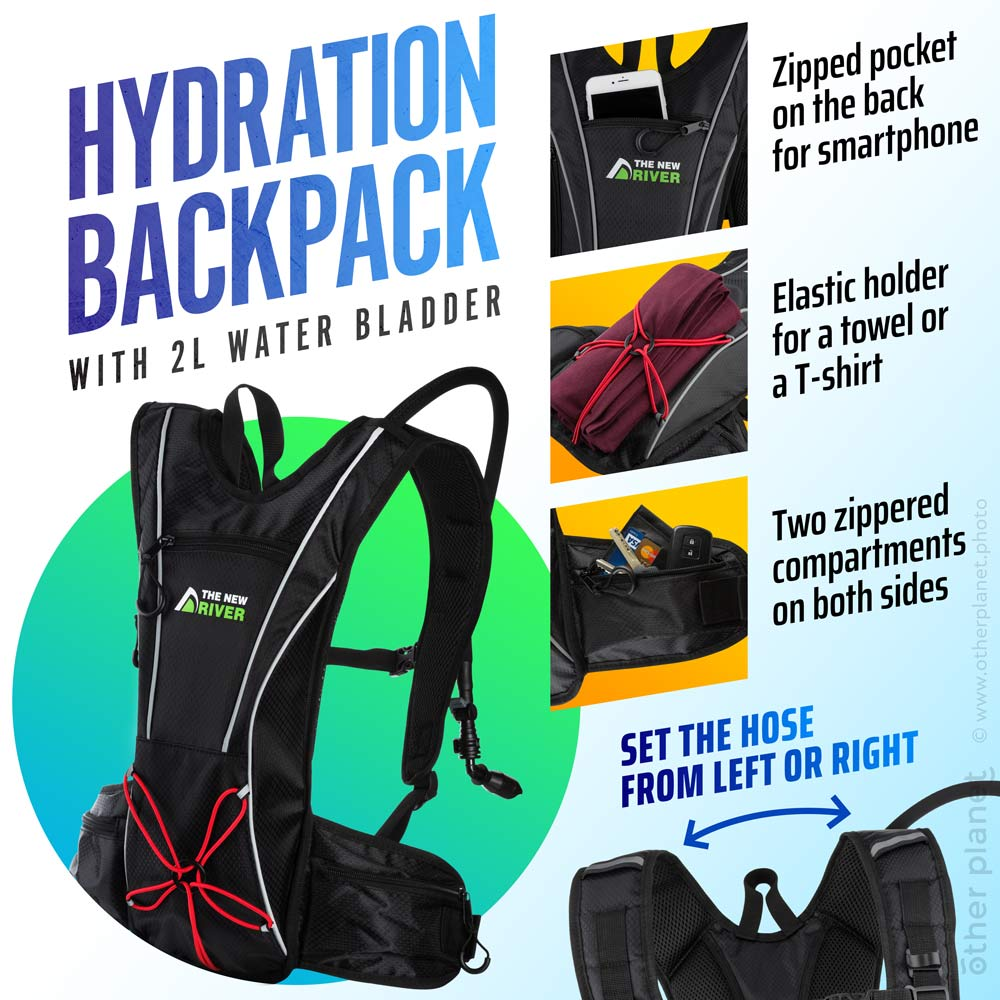 Amazon product photography Infographics Cycling Backpack with water bladder