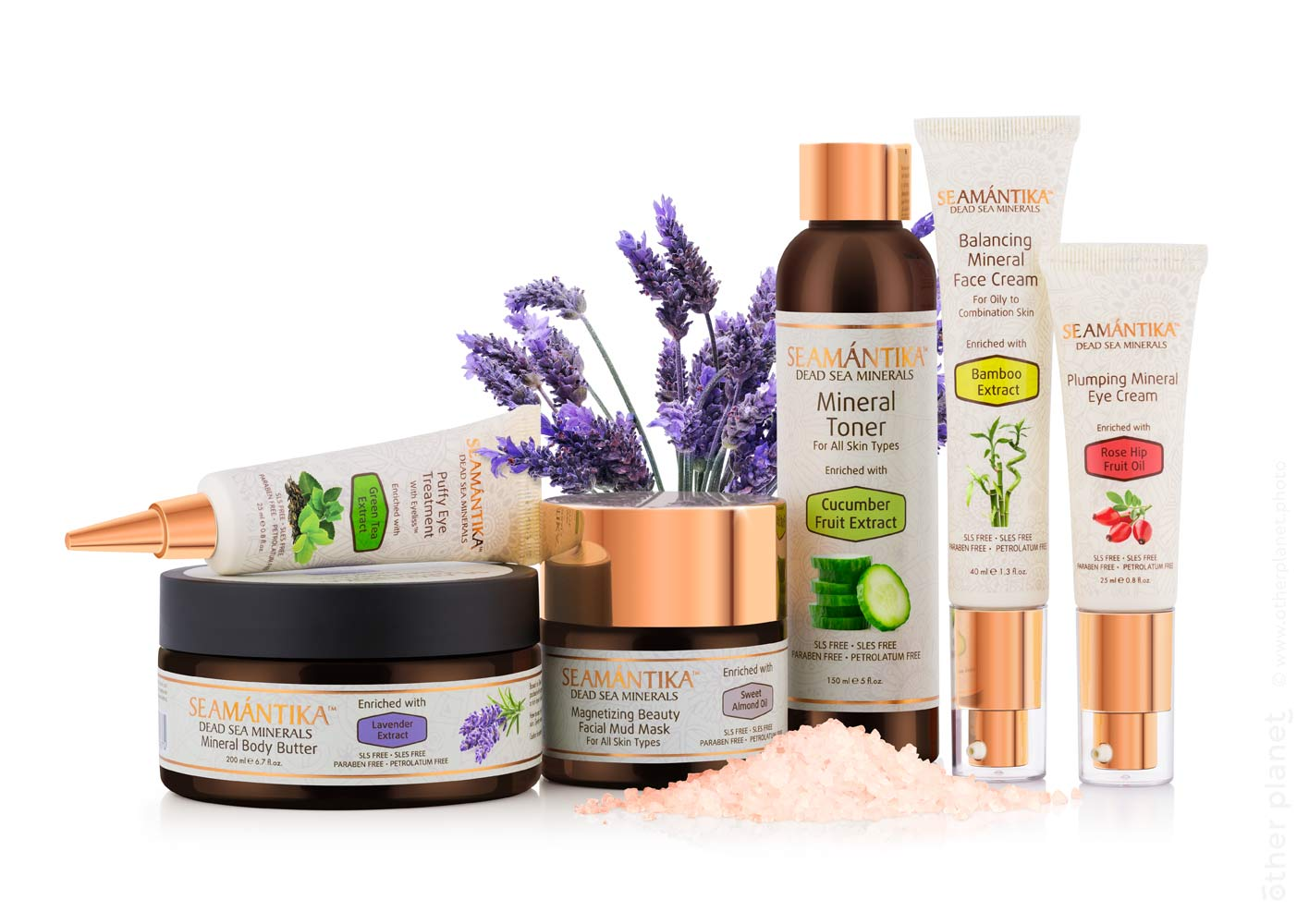 Arrangement of Semantika cosmetic products on white