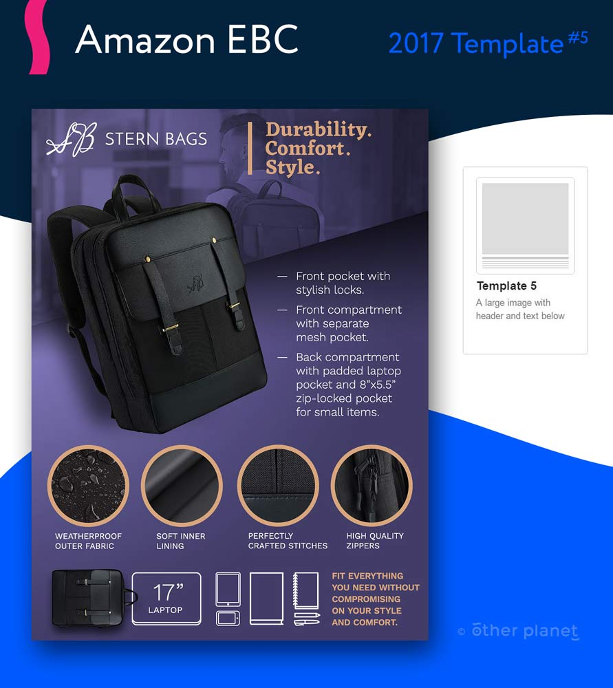 Bag with laptop pocket EBC image with infographics