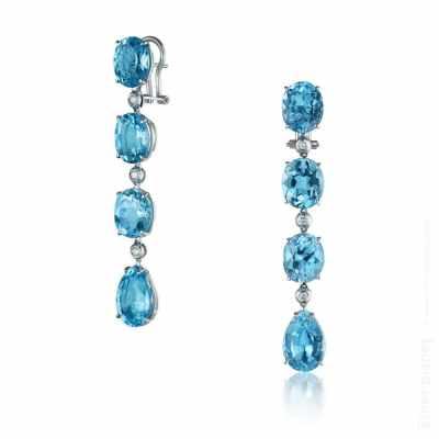 Blue topaz and diamond earrings photo