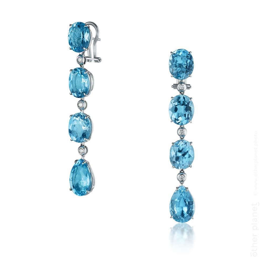 Blue topaz and diamond earrings photo