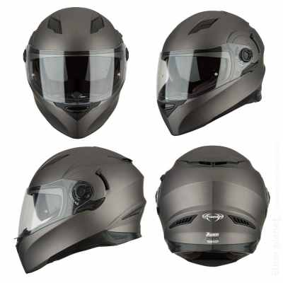 Brushed metal look motorcycle helmet