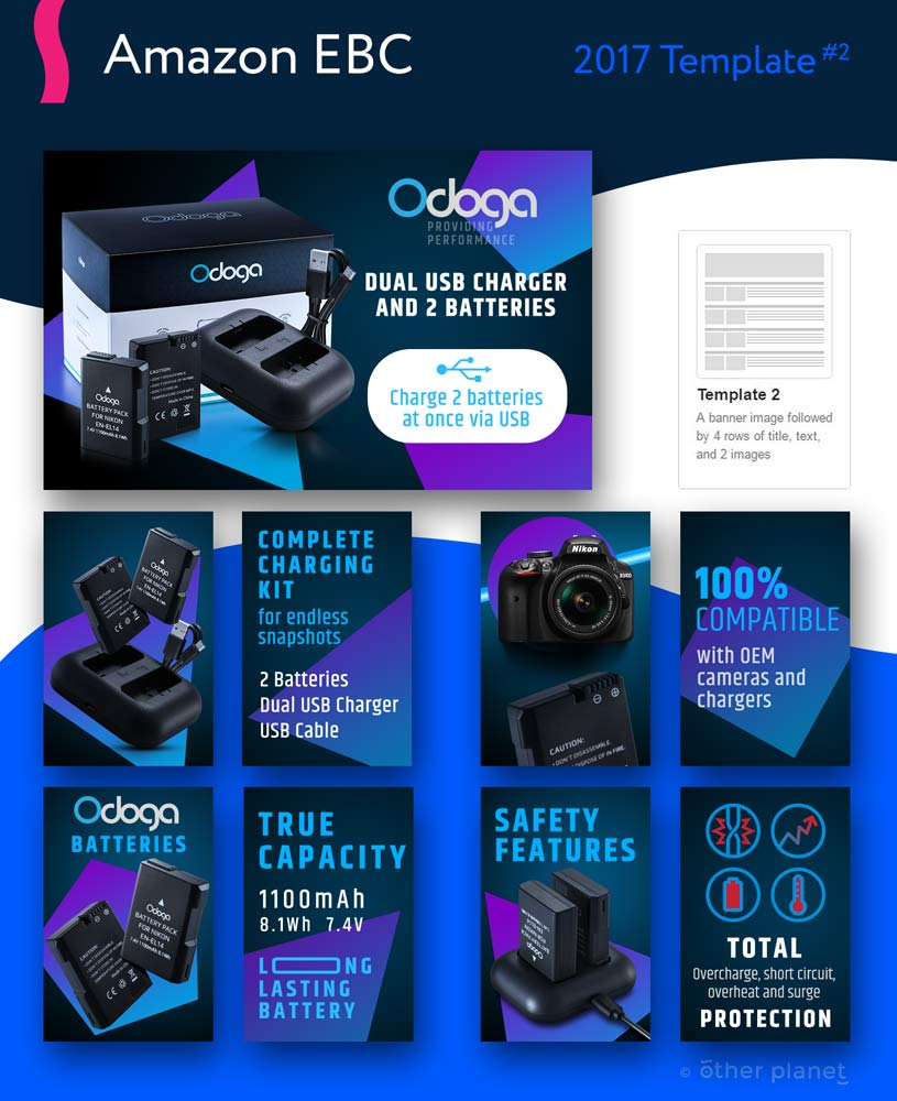 Camera batteries enhanced brand content for Amazon