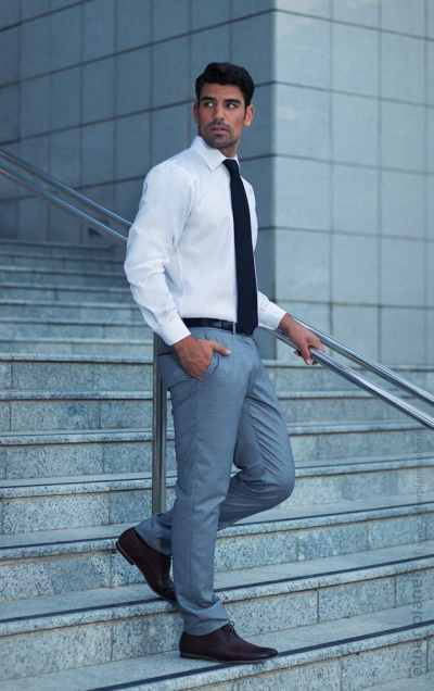 Classic formal shirt on male model in urban environment