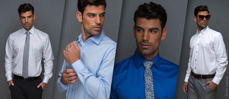 Classic men shirts on model studio shot on grey background