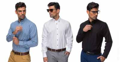 Classic men shirts on model studio shot on white background