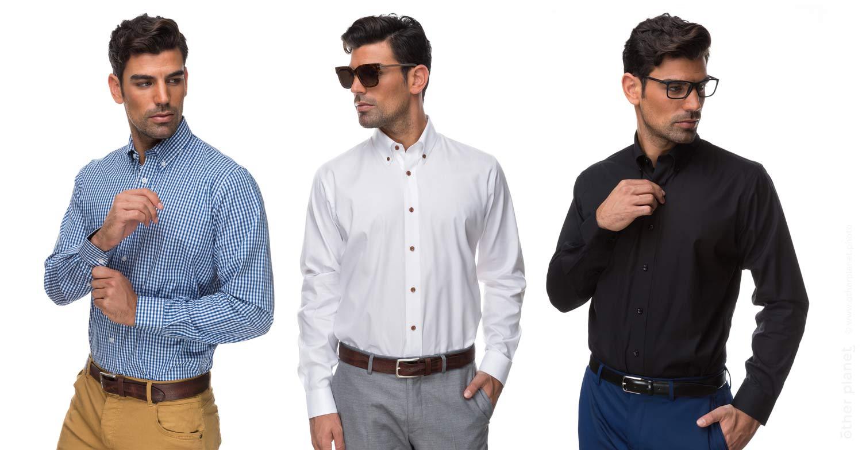 Classic men shirts on model studio shot on white background