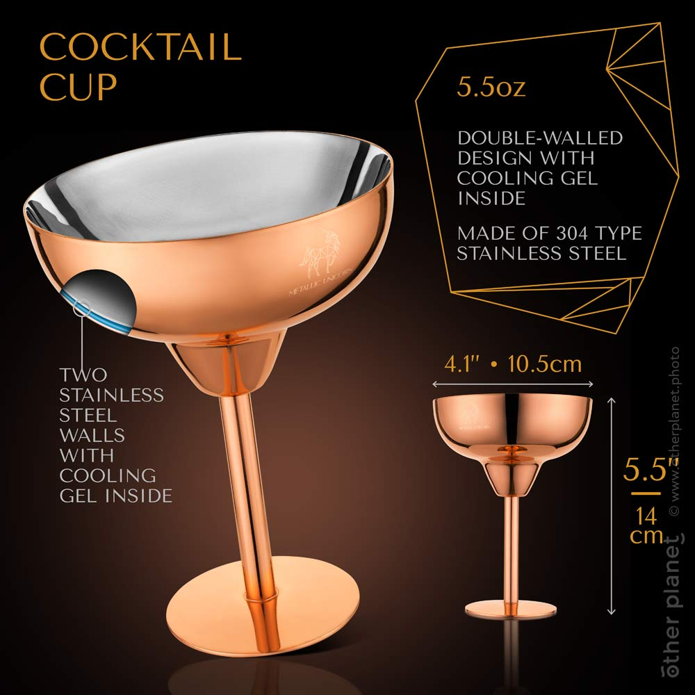 Cocktail cup infographics image on dark background