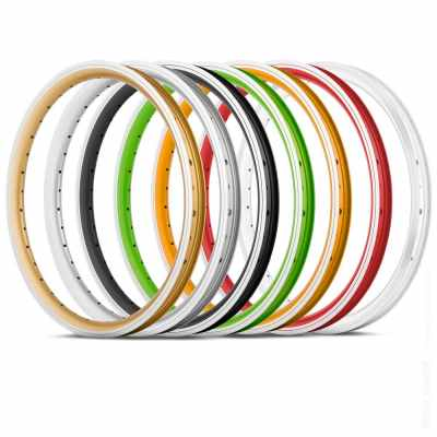 Composition of bicycle wheels on white background