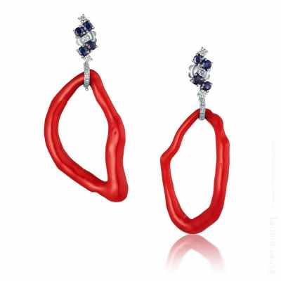 Coral eyes earrings with diamonds and saphires by Hanna Olenik
