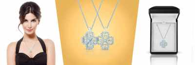Dancing diamonds flower pendant - packshot, on model and in the giftbox