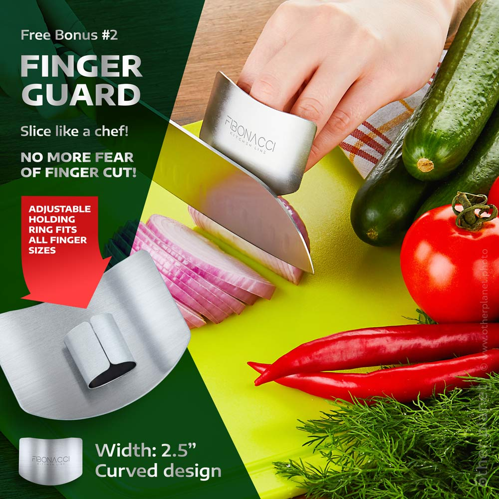Demonstration of use photo for Amazon product - knife with finger guard