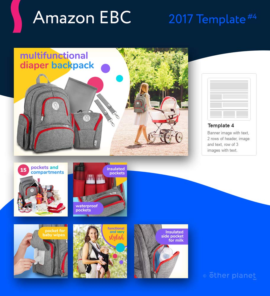 Diaper backpack EBC images for Amazon