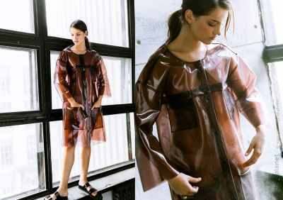 Diptych picture of transparent coat by Sandra Gutsati