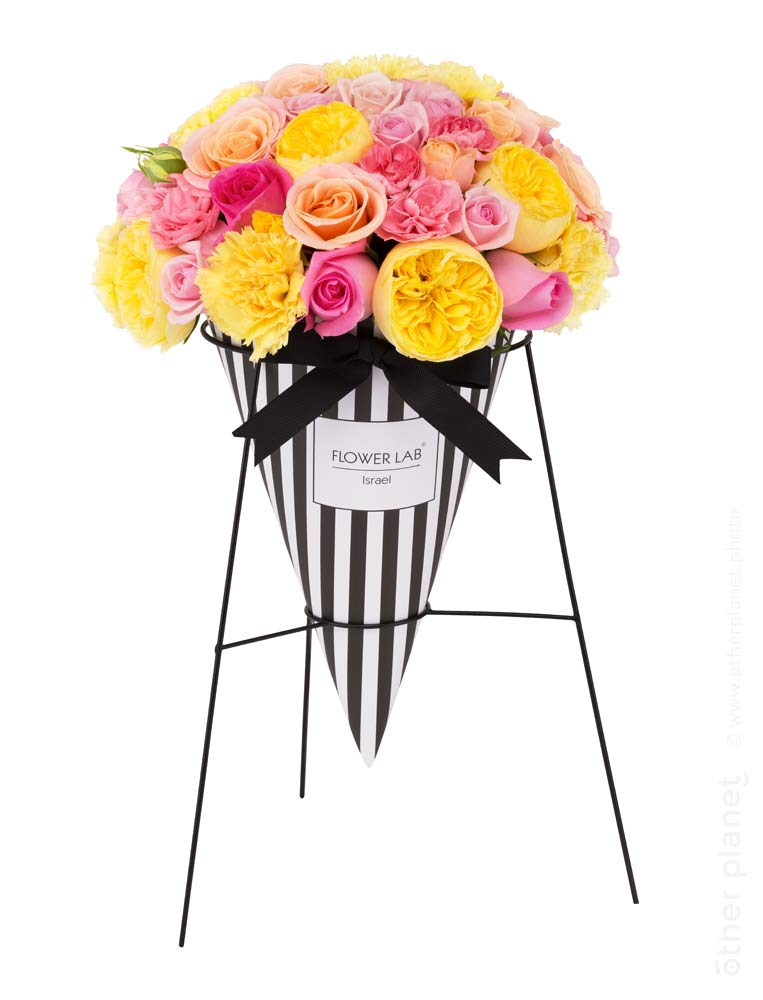 Flower arrangement in cone