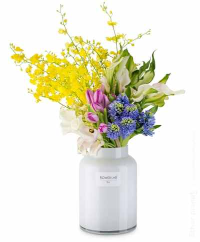 Gorgeous flower arrangement in white vase