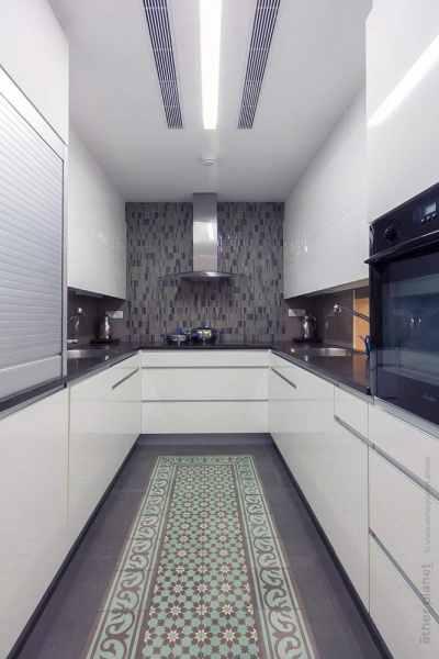 Futuristic style kitchen interior
