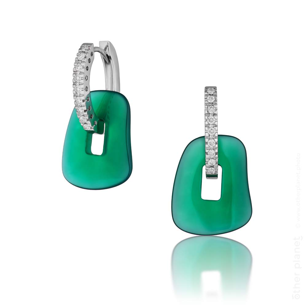 Green stone earrings with dimond photo for Hanna Olenik