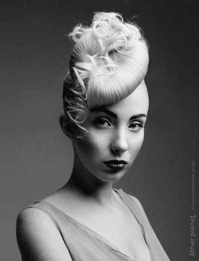 Hair dressing by Dolores fashion photography black and white
