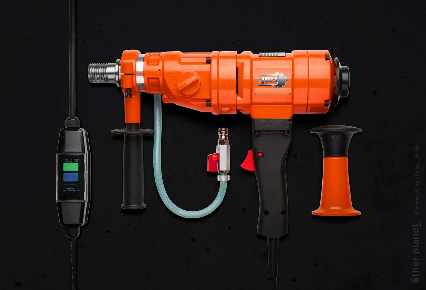 Hand drill for concrete drilling on black background