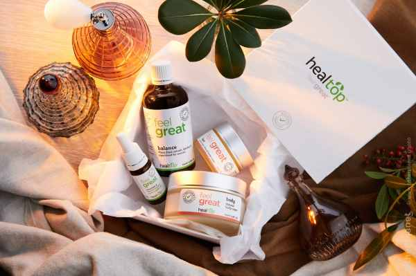 Healtop natural cosmetics group arrangement with plants