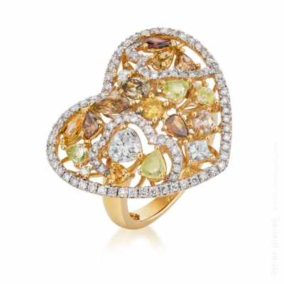 Heart shaped gold ring with colored diamonds