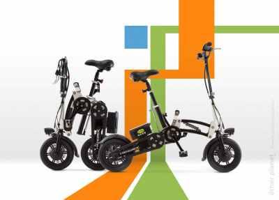 Hendrix mini e-bike on geometric background for GreenBike