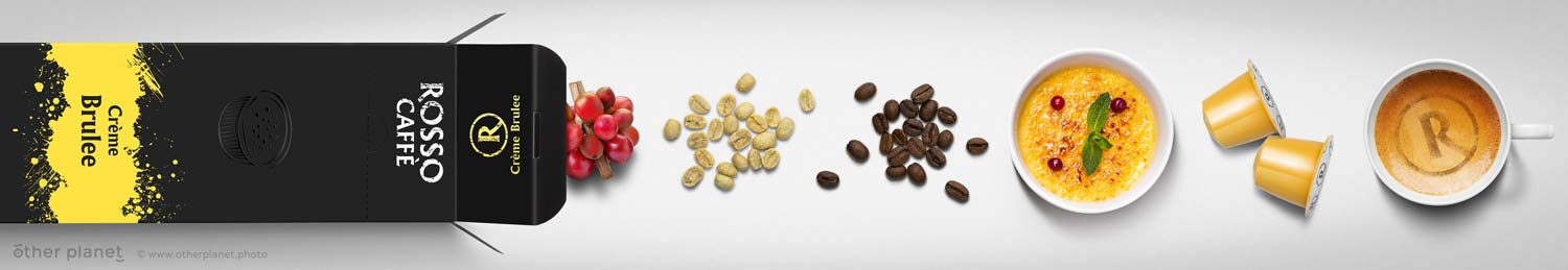 Illustration of coffee capsules preparation process for Rosso
