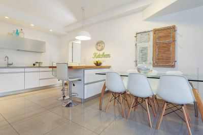 Interior design light colored kitchen
