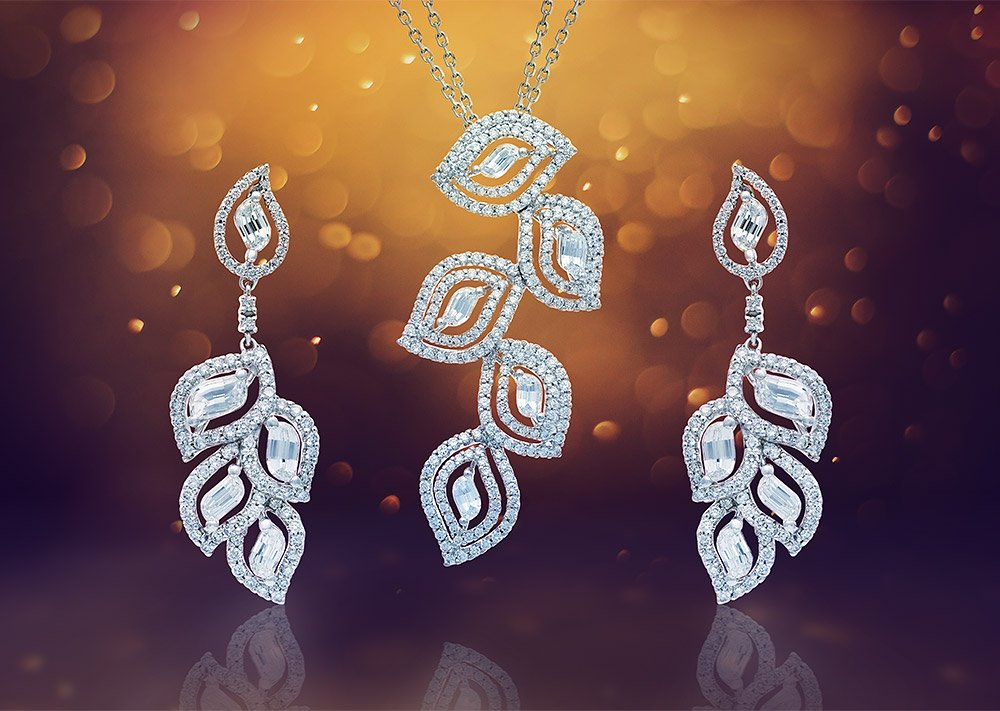 Photo of diamond jewelry set after post production