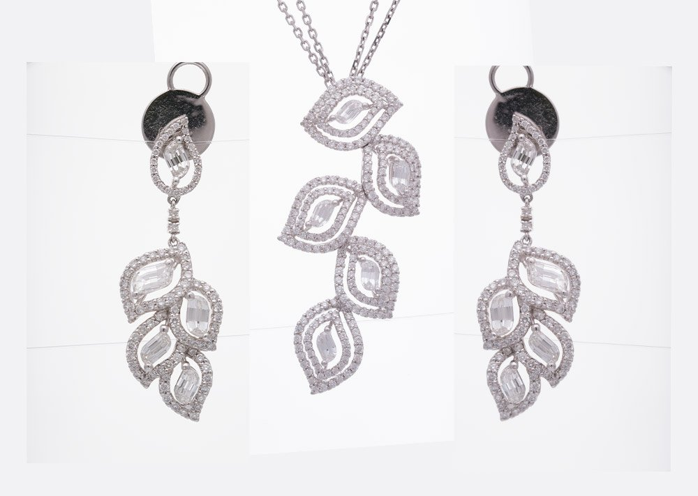 Photo of diamond jewelry set before retouching