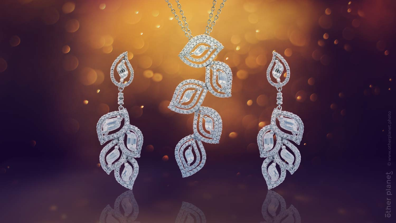 Jewelry set with flame cut diamonds by Lady Hearts