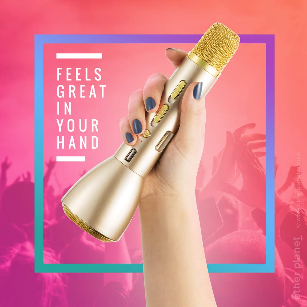 Karaoke microphone in womans hand picture with graphic design for Amazon