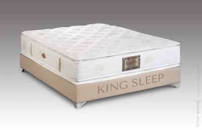 King Sleep mattress on bed base pack shot