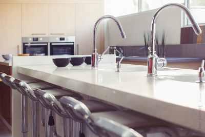 Kitchen closeup on water taps