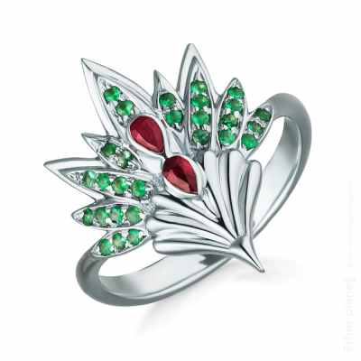 Lachtara Jewelry phoenix ring with rubies and emeralds