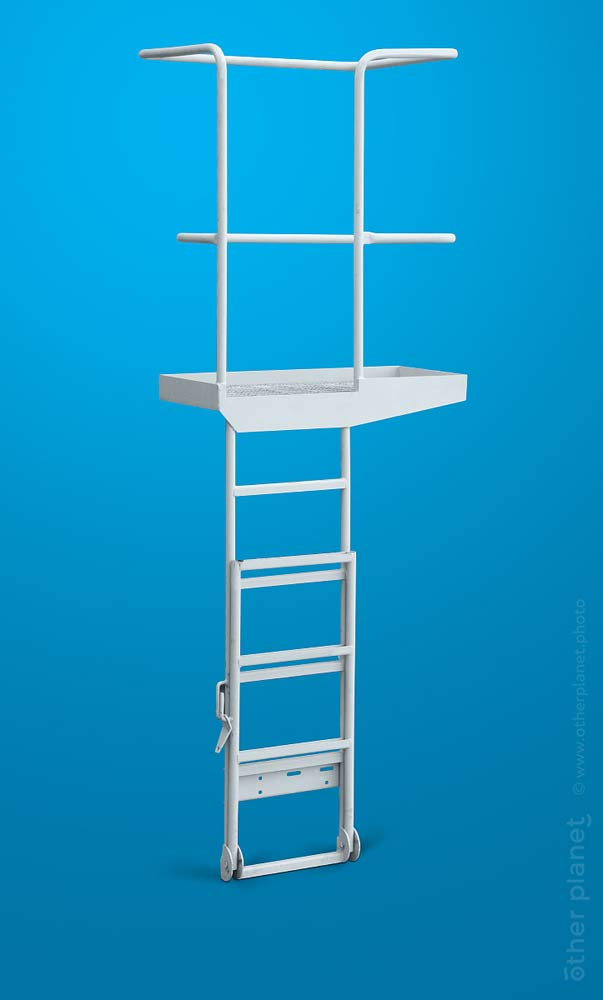 Ladder for concrete mixer truck packshot on blue background
