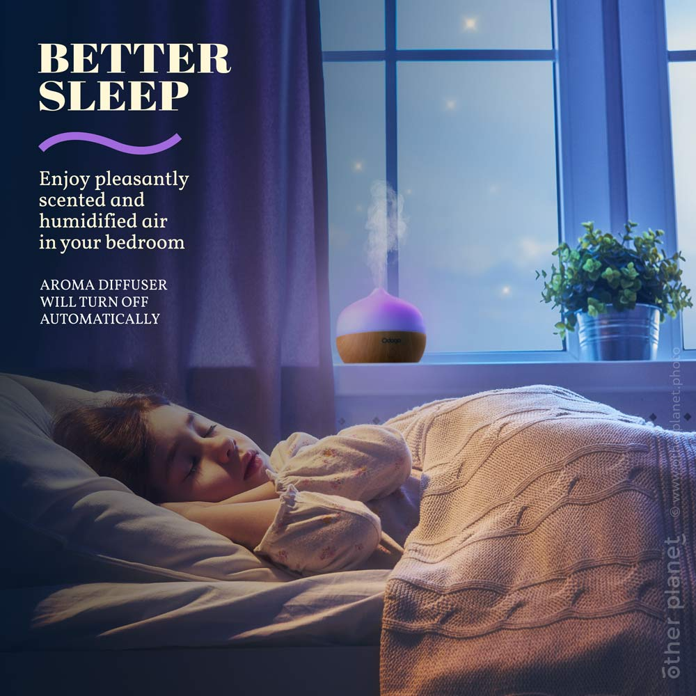 Lifestyle photo with sleeping girl for oil diffuser with typography design