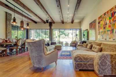 Living room interior in eclectic retro technique
