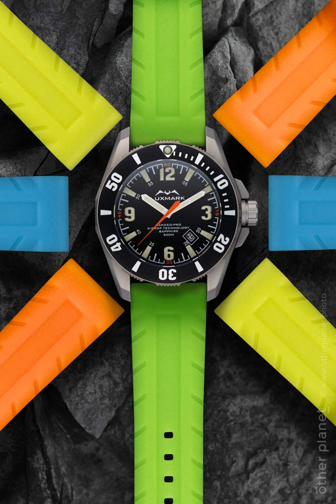 Luxmark watch with colorful sport straps advertising photo