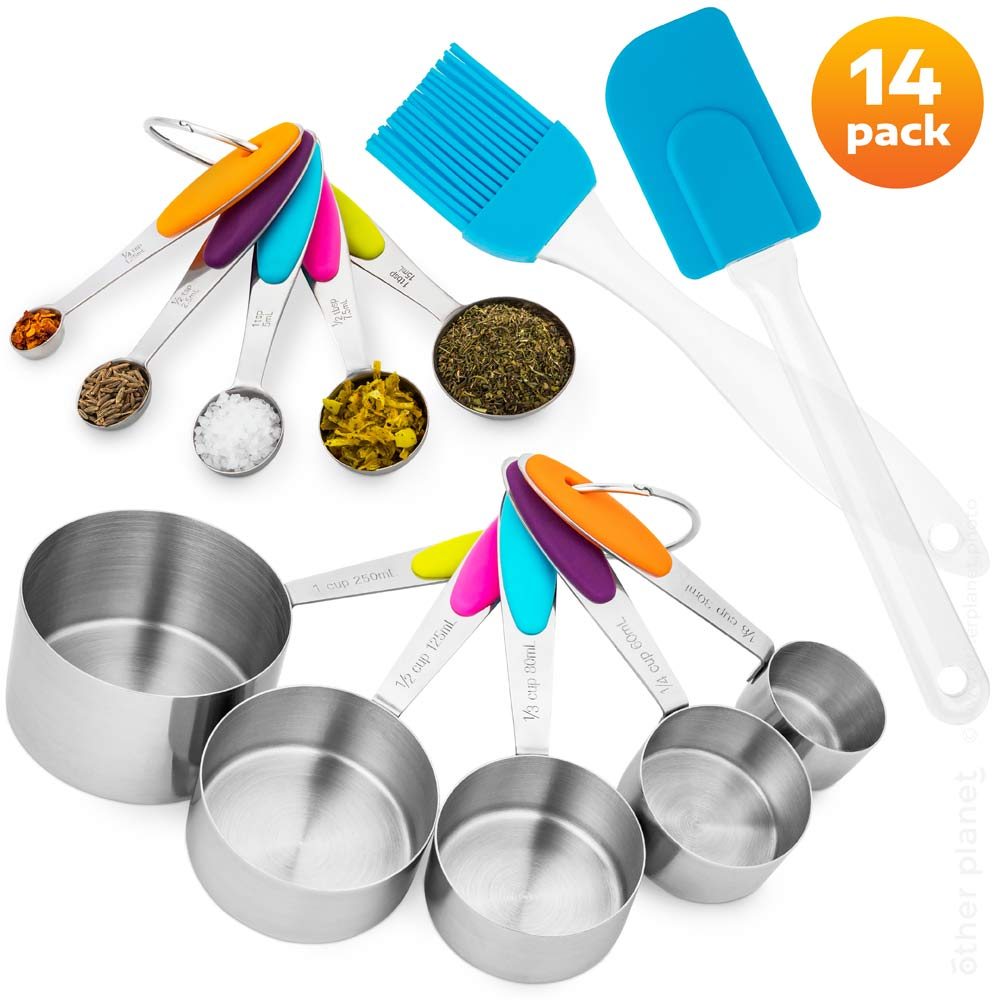 Measure cups and spoons arrangement for Amazon main product image