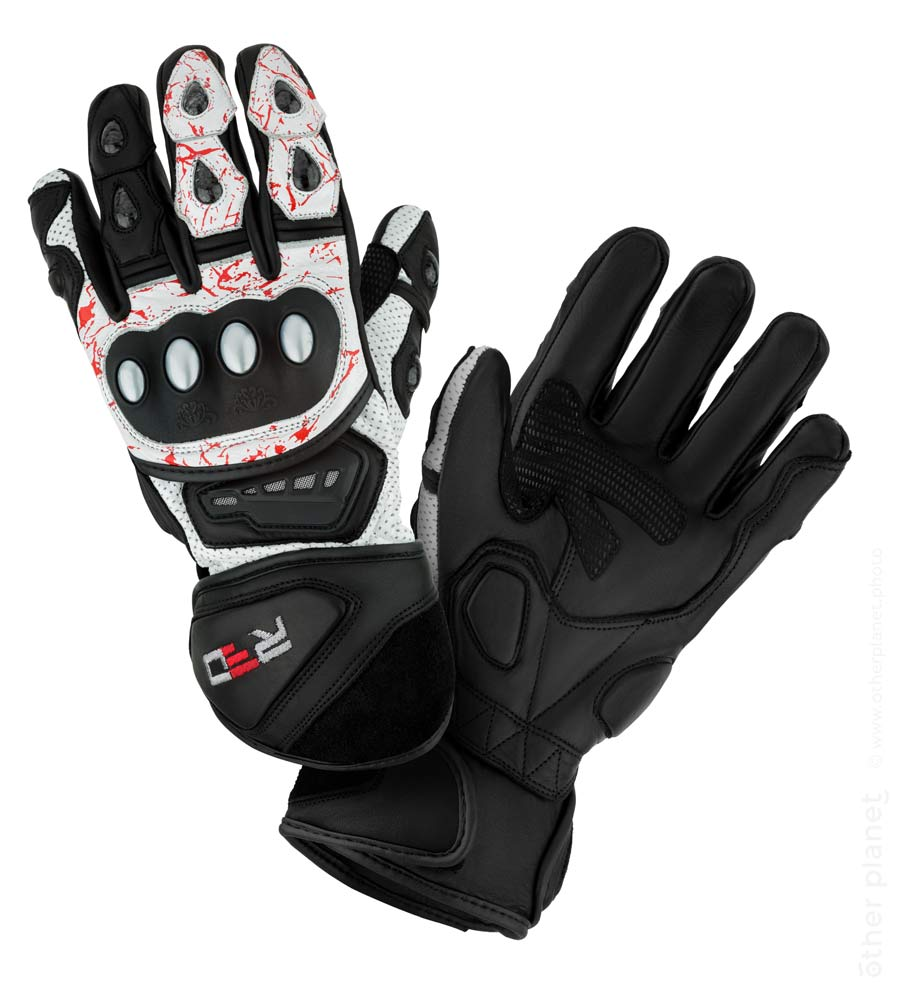 Motorcycle gloves on white background
