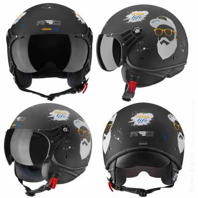 Motorcycle helmet with pictures from 4 angles