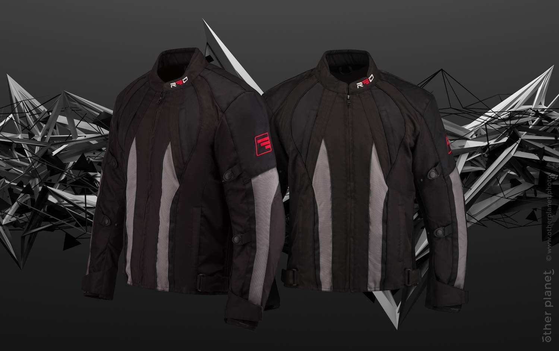 Motorcycle jacket on metallic shapes background