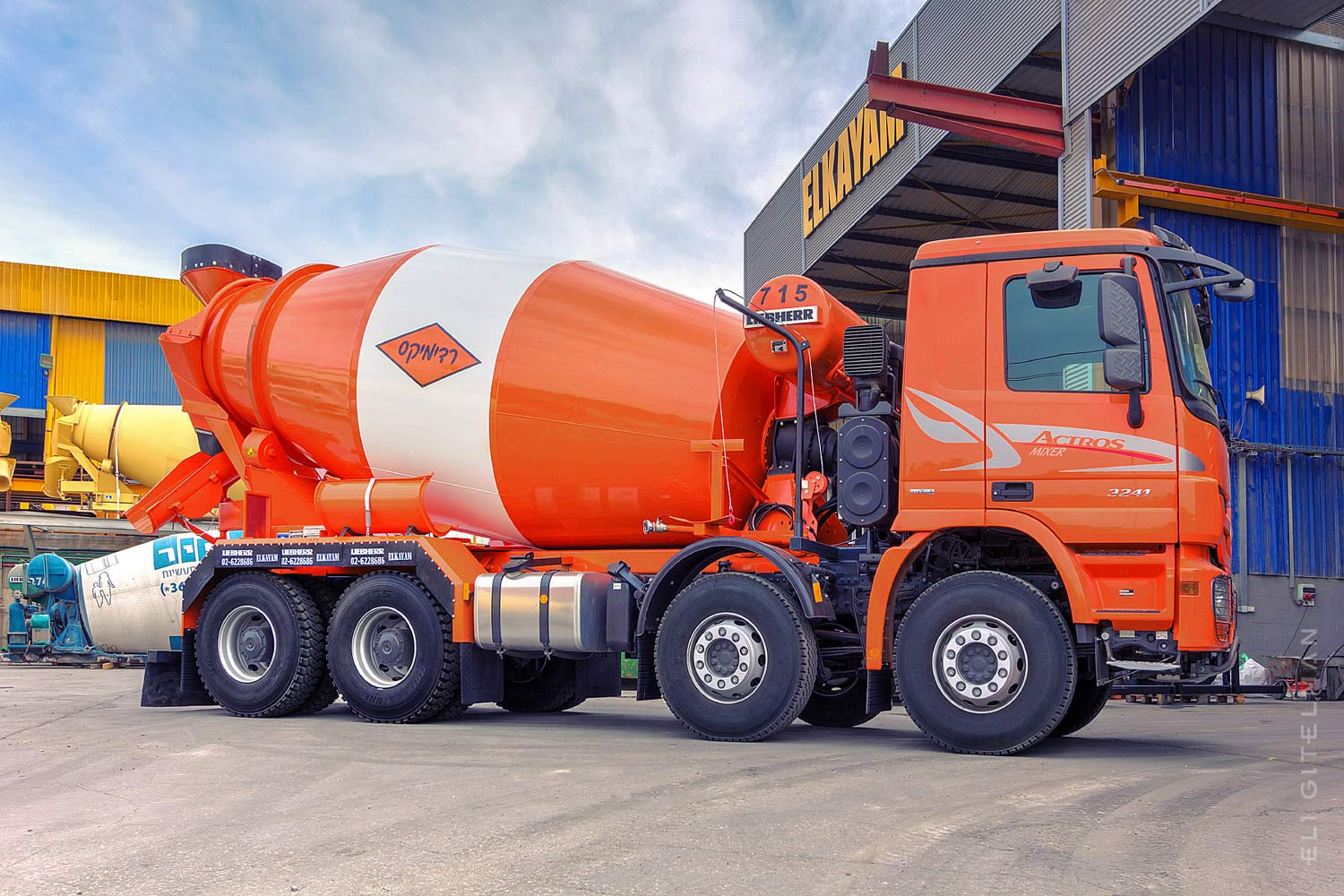 New and shiny concrete mixer transport truck